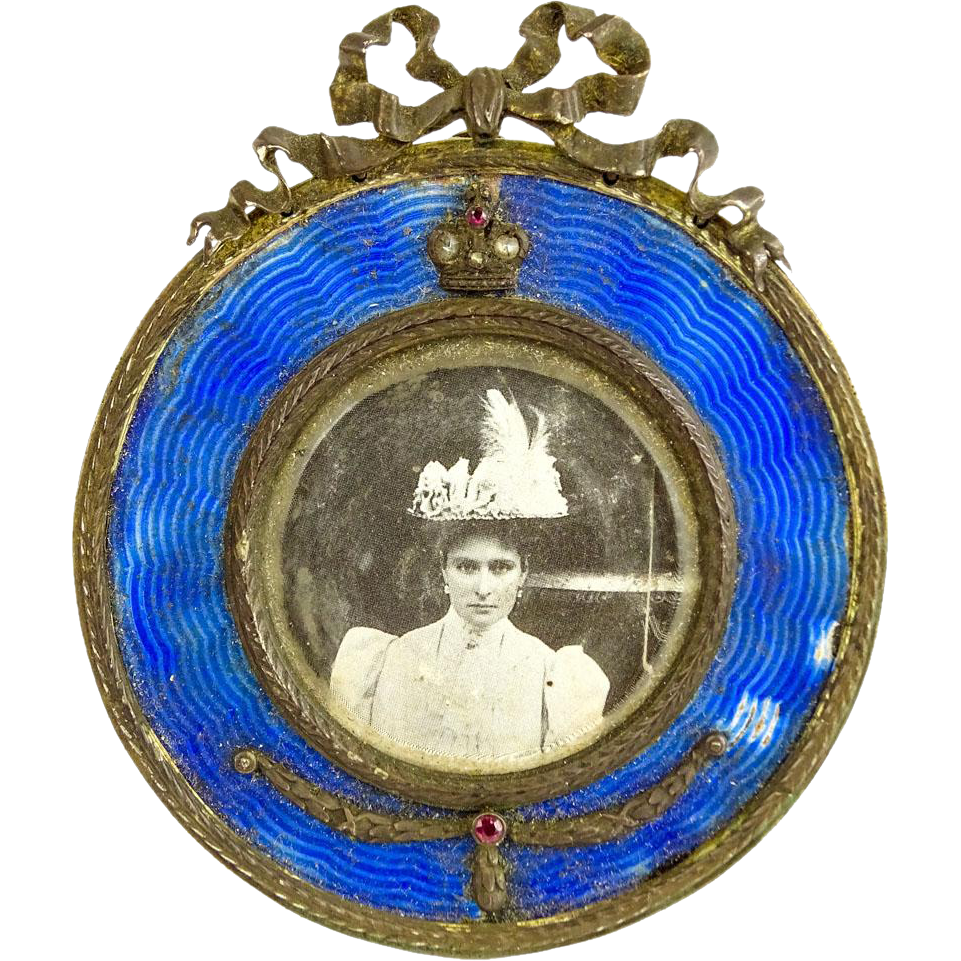 19th C Russian Guilloche Enamel Silver Miniature Frame, Set With Old European Cut Diamonds and Rubies, Signed