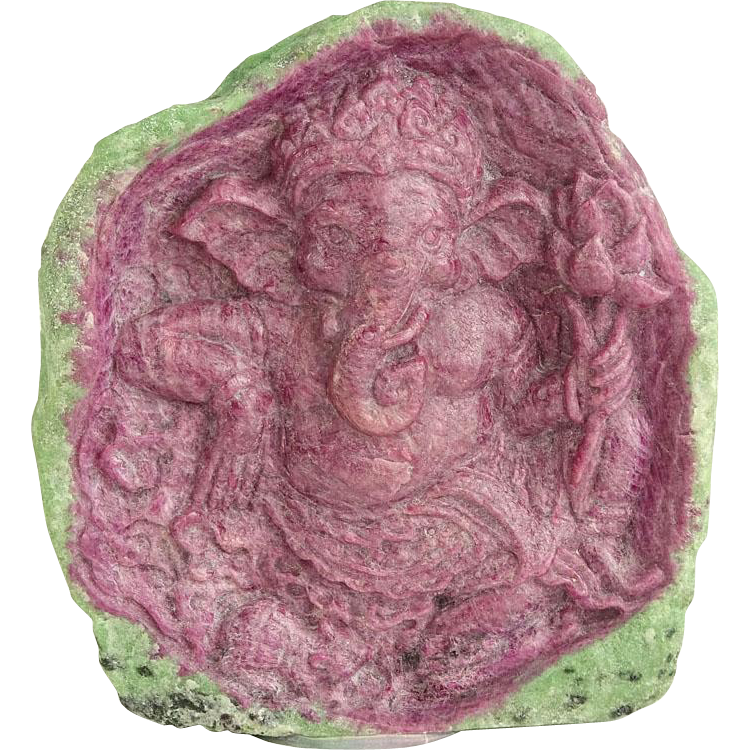 "RONALD STEVENS (20TH - 21ST Century) - Sculpture ""Ganesha"" In Natural Ruby in Zoisite"