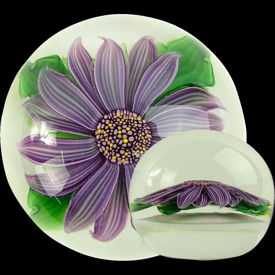 STEVEN LUNDBERG (American 1953 - 2008)  Amethyst Flower Paperweight, Signed.