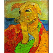 "ALEXANDER GORE (Russian/American b. 1958) - ""Key West Stray Dog"" Original Signed Oil, Linen, On Cork"