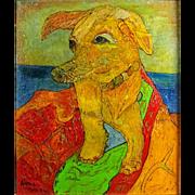 "ALEXANDER GORE (Russian/American b. 1958) - ""Key West Stray Dog"" Original Signed Oil, Linen, On Cork"