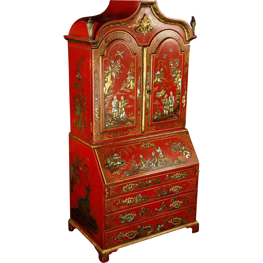 19th Century Miniature Chinoiserie Secretary, From The Estate of Baroness Mary McFall de Gunzburg of New York City, New York and Miami Beach, Florida.
