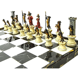 BERGMANN Vienna Bronze - Outstanding Complete Signed Chess Set Of Dachshund Dogs