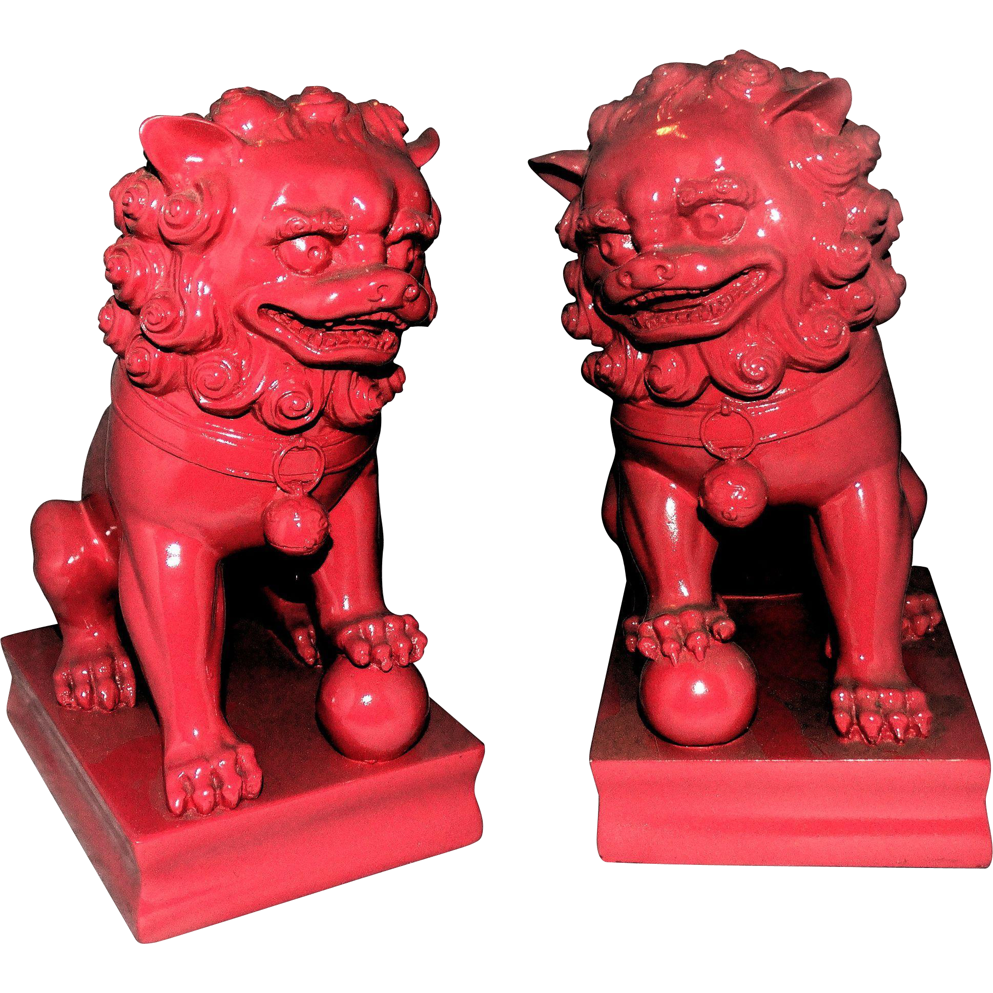 Pair of Pottery Foo Dogs (Dogs of Fu)