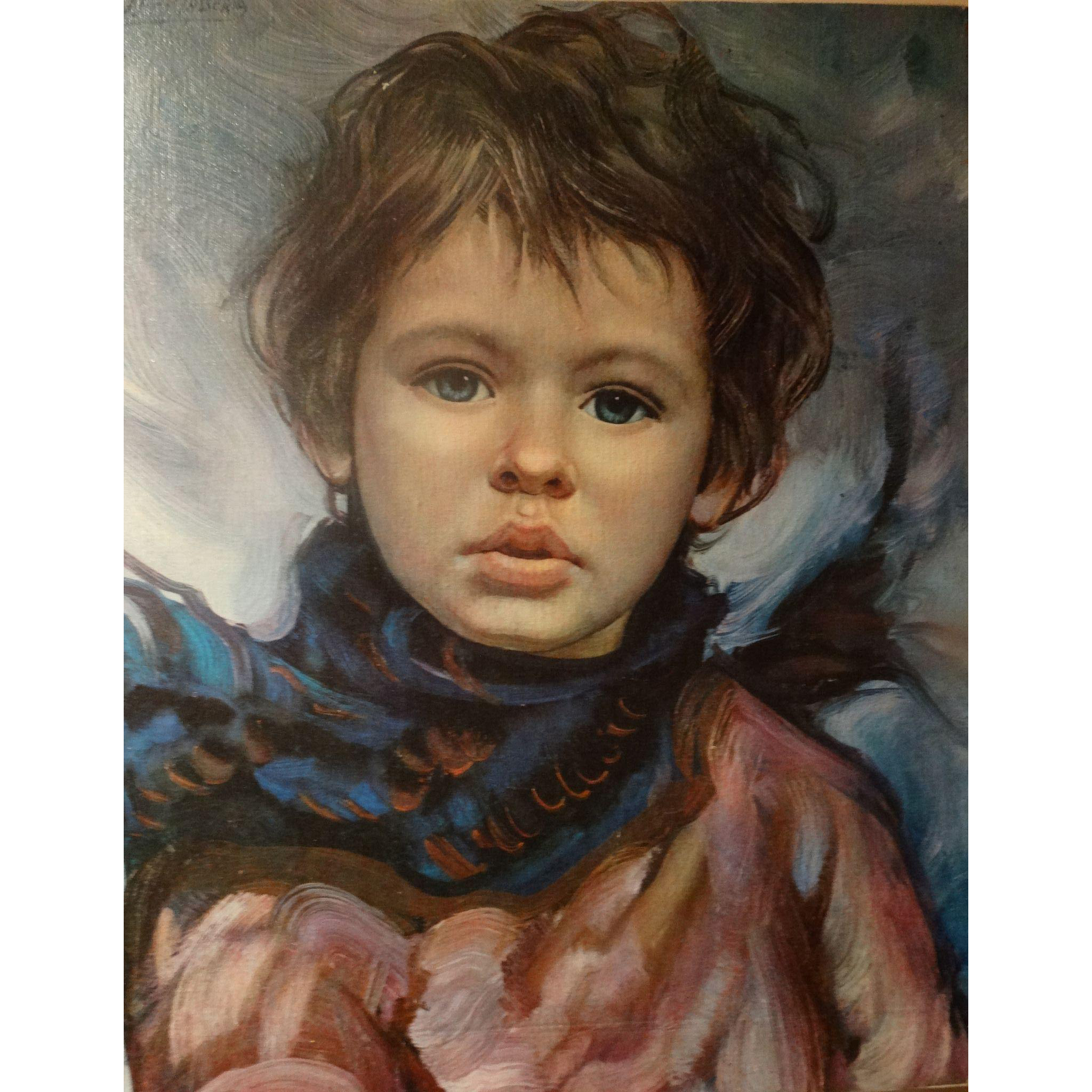 FRANCISCO J.J.C. MASSERIA (Argentinian 1926 - 2002) - Portrait Of A Child  - Original Signed Oil on Canvas