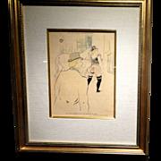 """TOULOUSE-LAUTREC (French 1864 - 1901) """"Dans Des Coulisses Des Folies Bergere""""  - """"Mrs. Lona Barrison Avec Son Manager Et Epoux"""""""