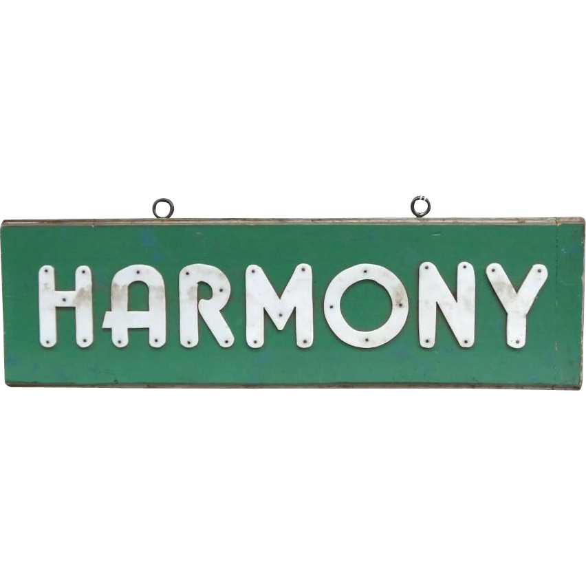 """HARMONY"" - Painted Wood With Applied Letters From Marbrit Farm, Maine."