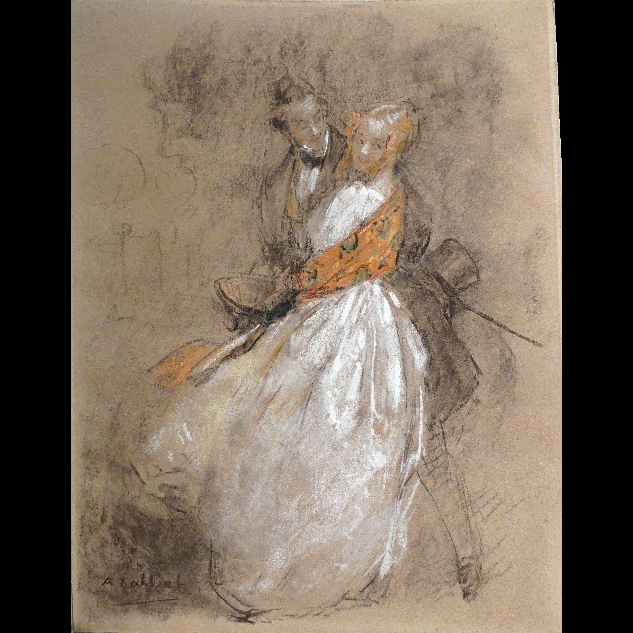 ANTOINE CALBET  (1860 - 1944) Original Signed Painting, Primarily Pastel Mixed Media