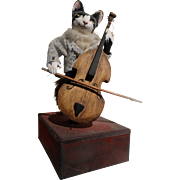 L'Arbre a Pain Automaton Cat Playing Cello Music Box