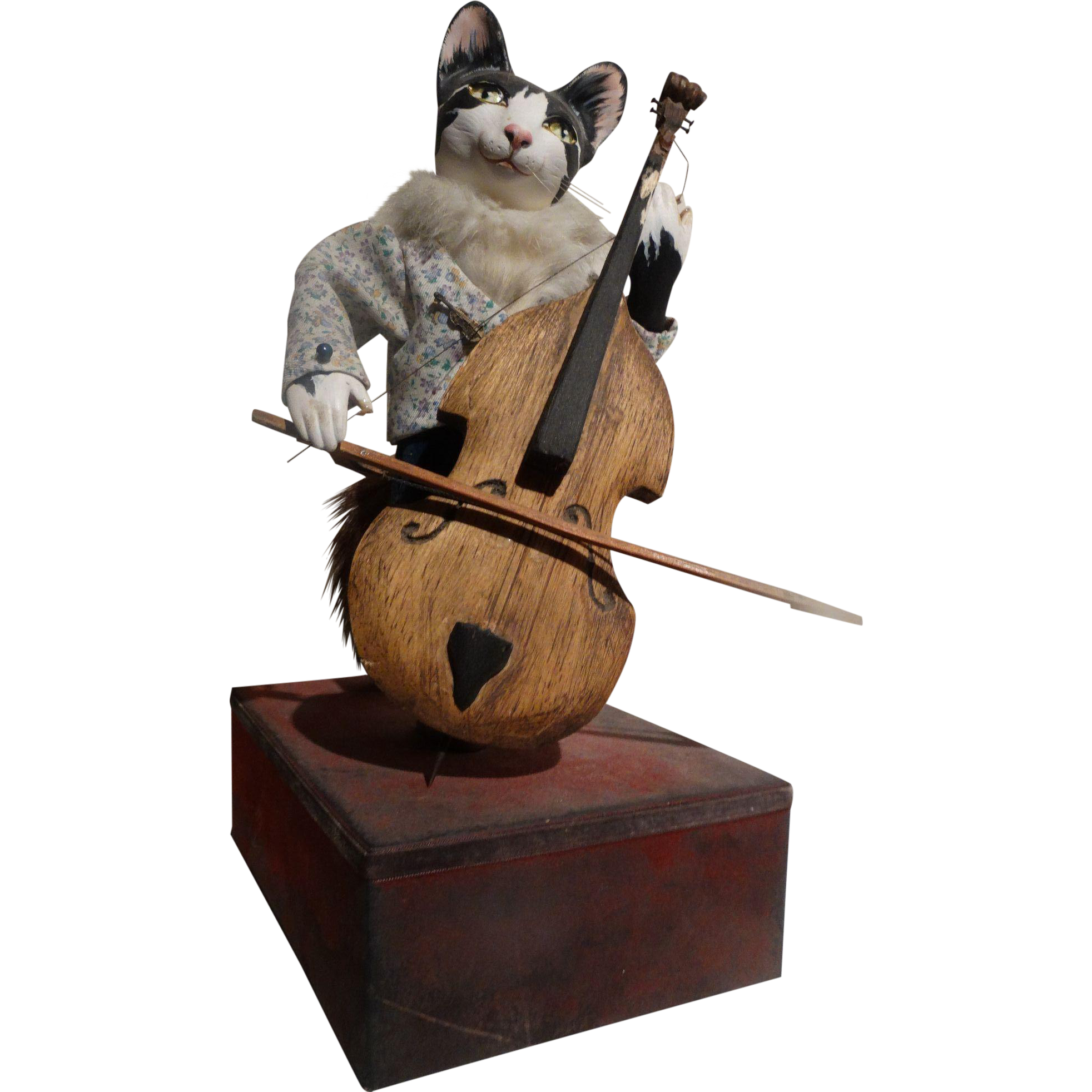 l 39 arbre a pain automaton cat playing cello music box from barkusfarm on ruby lane. Black Bedroom Furniture Sets. Home Design Ideas