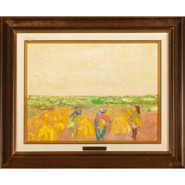 "POLA AIVAZIAN-ROSSI  (Swiss 1914 - 1967) - Original Signed Oil On Canvas ""Harvest In Yellow """