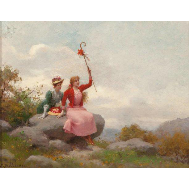 "JULES FREDERIC BALLAVOINE (French 1855 -1931) ""Elegantes A La Campagne"" Original Signed Oil On Canvas"