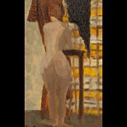"CHARLES BARRAUD (Swiss 1897-1997) - Original Signed Oil On Canvas ""Nude Waiting"""