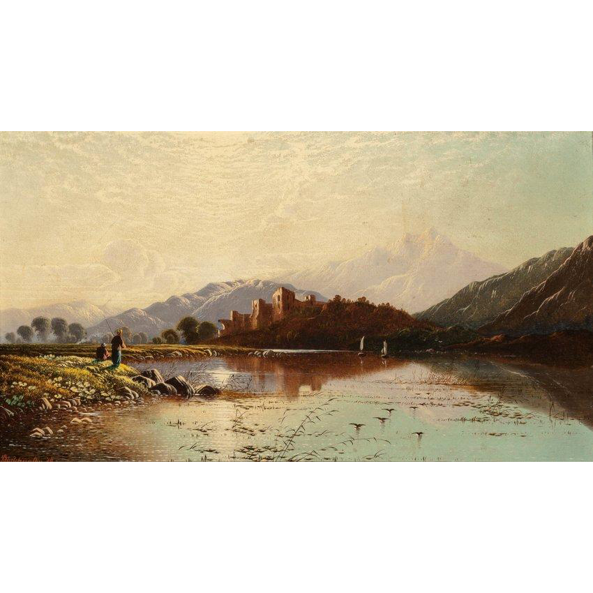 "EDWIN HENRY BODDINGTON (British, 1823 - 1923) ""Ballachulish, Scotland, 1879""  Original Signed Oil On Canvas"