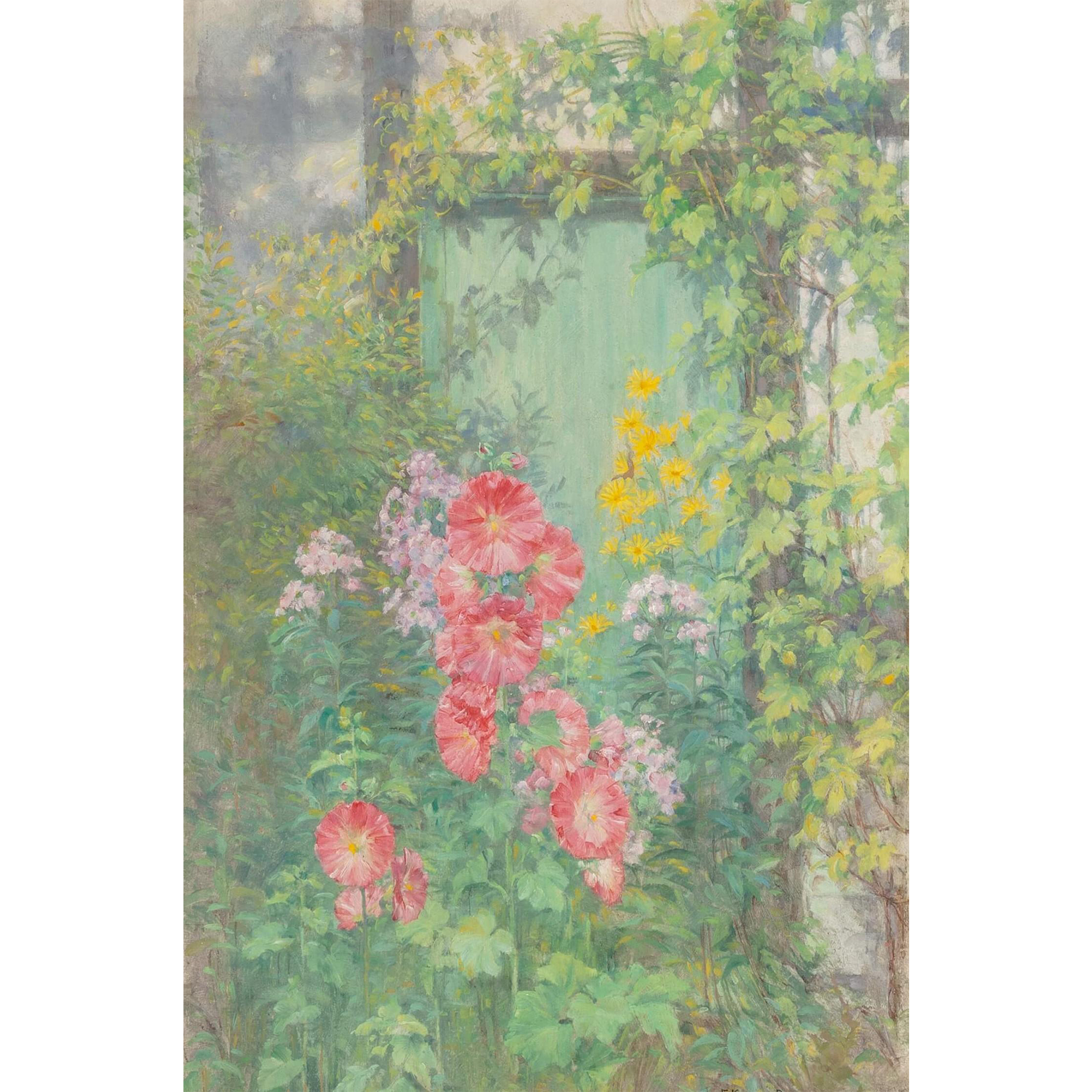 "EDWARD KINGTON BRICE (1860 - 1948) - Original Signed Impressionist Oil ""Flowers In The Garden"""