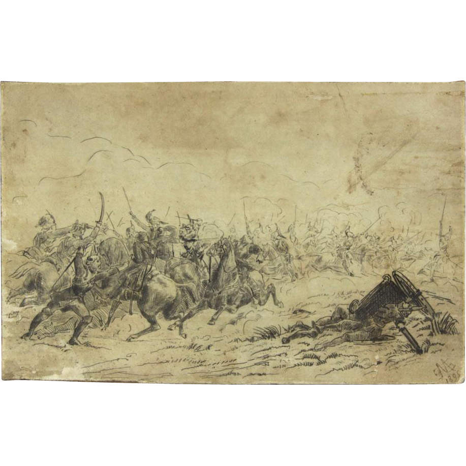 "RUSSIAN SCHOOL (19th Century) - Original Signed and Dated Ink On Paper ""Cossacks Fighting Turks"""