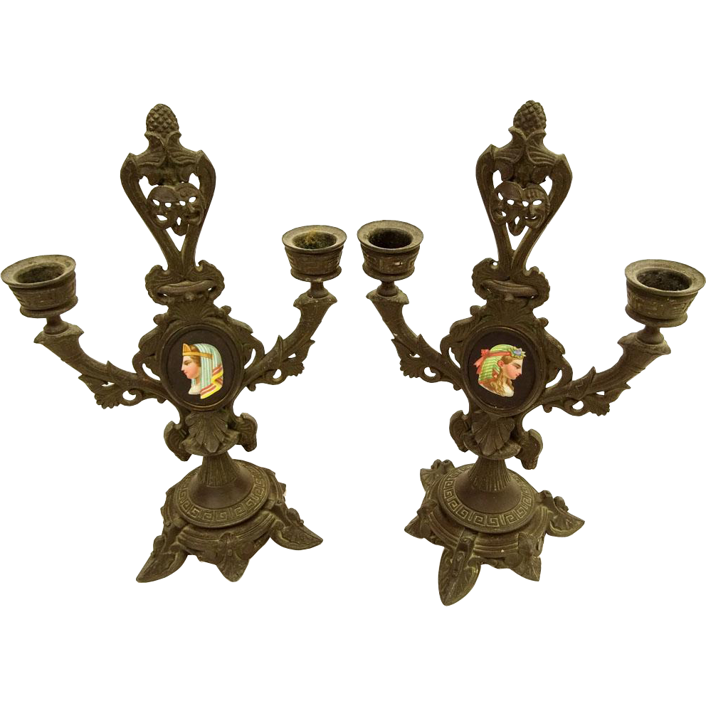 PAIR Of Vieux Paris (Old Paris) French Metal Candlesticks With Hand-Painted Plaques