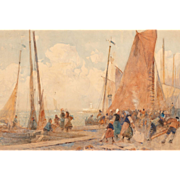 """HECTOR CAFFIERI (British, 1847 - 1932) - Original Signed Watercolor """"Boats Coming Home"""""""