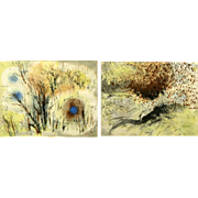 PAIR Of Chinese Impressionist Watercolors, Mid-Century, One Signed/Dated