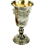 Sterling Silver Kiddush Cup In High Relief