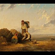 """WILLIAM  COLLINS (British, 1788-1847) """"Fishermen"""" Original Signed Antique Oil on canvas."""