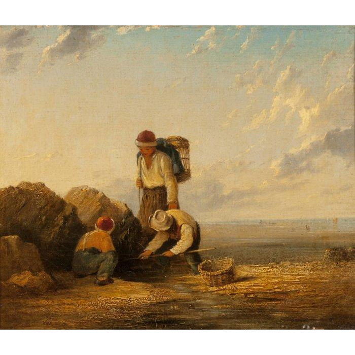 "WILLIAM  COLLINS (British, 1788-1847) ""Fishermen"" Original Signed Antique Oil on canvas."