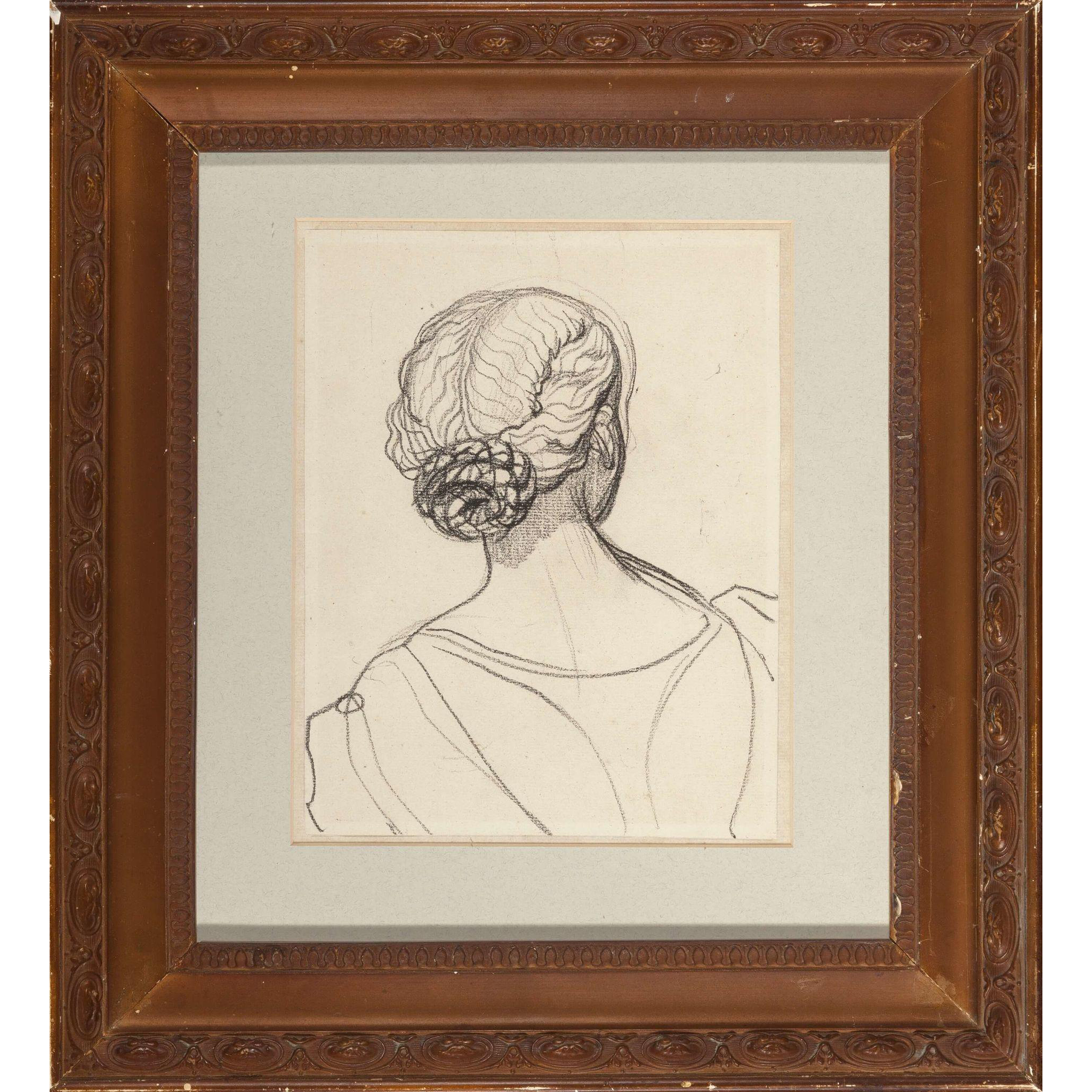 French Portrait of A Woman With A Chignon, Original, Charcoal On Paper, Provenance From Sothebys