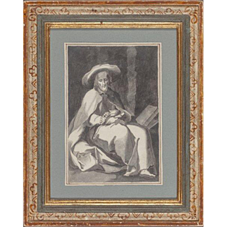 "18th Century French School ""Hermit Saint"" - Original Ink On Paper"