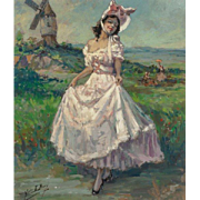 "YVES DIEY (French, 1892-1984) ""Lady in Pink"" Original Signed Oil on Canvas"