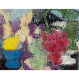"GEORGETTE TAVE (French, 1925 - 2008) - Expressionist Original Signed Oil On Canvas ""Still Life With Fruit"""