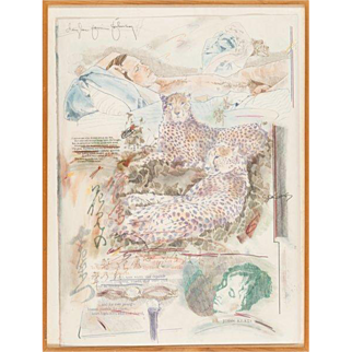 """DOUGLAS JAMES JOHNSON  (American/French, 1937-1998) """"Ode to Mid-May"""" Original Pencil, Ink and Watercolor Signed/Dated 1977"""
