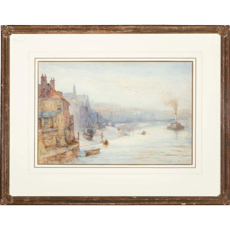 """THOMAS HALE-SANDERS (British 1880- 1906) Original Antique Watercolor, """"Early Morning, Whitby""""  Signed and Dated 1898"""