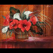 "GILBERT MICHAUD (French/Japanese b. 1949) - ""En Rouge et Blanc"" Original Signed Oil On Canvas"