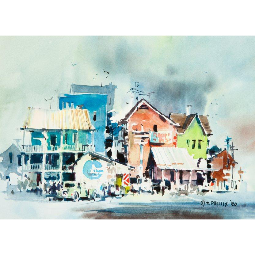"HAROLD PHENIX  (American, 1928-2009) Original Signed/Dated Impressionist Watercolor ""Old Galveston"""