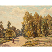 "HERBERT EDWIN PELHAM HUGHES-STANTON (British, 1870 - 1937) -""Road In France"" Original Signed/Dated Oil on Canvas"