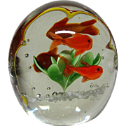 "Unusual Paperweight With An Interior ""Frame"" For the Four Fish and Plant"