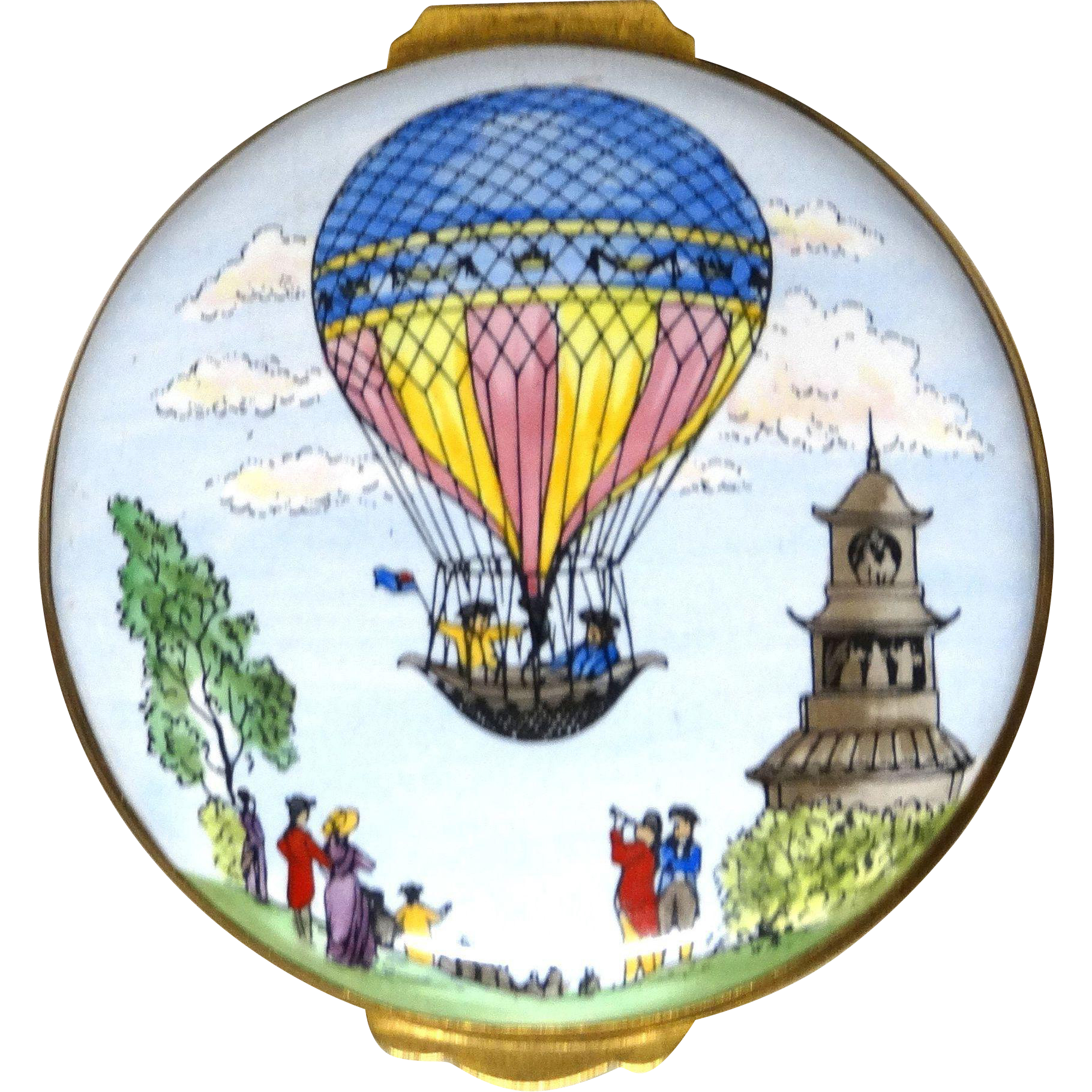 Crummles & Co. Enamel Trinket Box or Pill Box, Hot Air Balloon Motif - Exquisite!  From England.