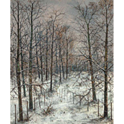 """MICHEL GIRARD (French, b. 1939) -""""Where The Fences Meet In Winter"""" - Original Signed Oil On Canvas"""