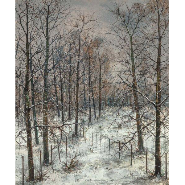 "MICHEL GIRARD (French, b. 1939) -""Where The Fences Meet In Winter"" - Original Signed Oil On Canvas"