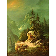 "LUDWIG MUNNINGER (German, 1929-1997) - ""Mountain Landscape"" Signed Original Oil on Canvas"