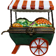 Limoges France Peint Main Hand-Painted Porcelain Vegetable Cart, Signed with Maker's Mark, Trinket Box