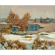 "MAURICE LEMAITRE (French,  b. 1926) - ""Lake In Winter"" - Original Signed Oil On Canvas - Wonderful Impressionist"