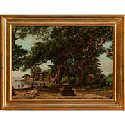 "W. ALLEN CAY, (American 19th Century) - ""Homoko Japan"" - Original Signed Antique Oil On Canvas."