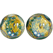 PAIR of Signed Antique Japanese Kutani Porcelain Plates With Bird and Bamboo Motif, Possibly Edo Period
