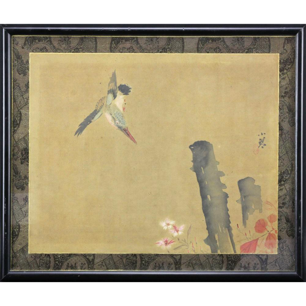 Antique Signed Chinese Bird Scroll Painting