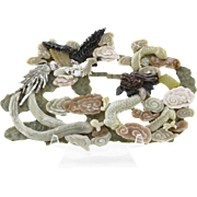 Very Well-Carved Chinese Hardstone Dragon and Pheasants Sculpture, Exquisite Colors