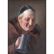 """ALOIS BINDER (German 1857 - 1933) - Original Signed Oil On Panel """"Friar With Stein"""" By This Well-Listed Artist"""
