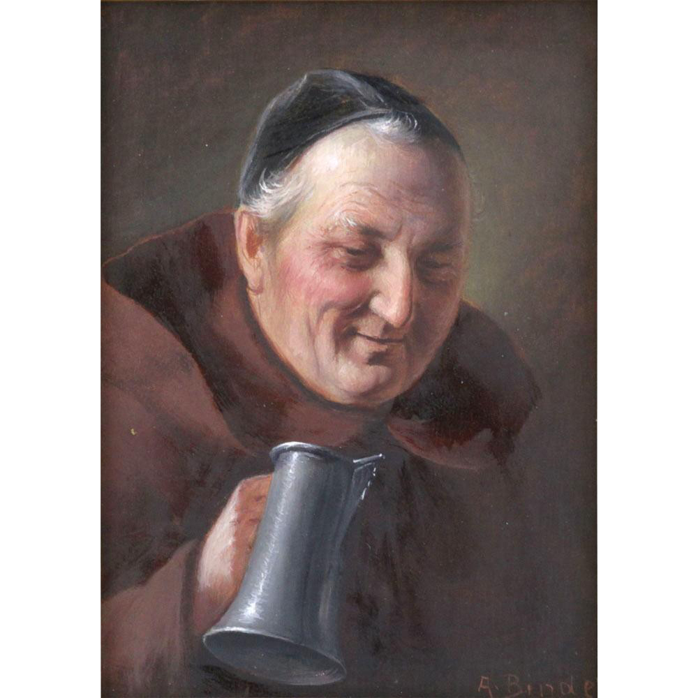 "ALOIS BINDER (German 1857 - 1933) - Original Signed Oil On Panel ""Friar With Stein"" By This Well-Listed Artist"