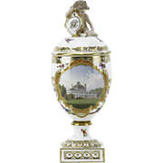 ROYAL COPENHAGEN Antique Hand-Painted Lidded Urn With Hand-Painted Topographical Scene of Fredensborg Castle Denmark and Monogrammed Putti Finial.