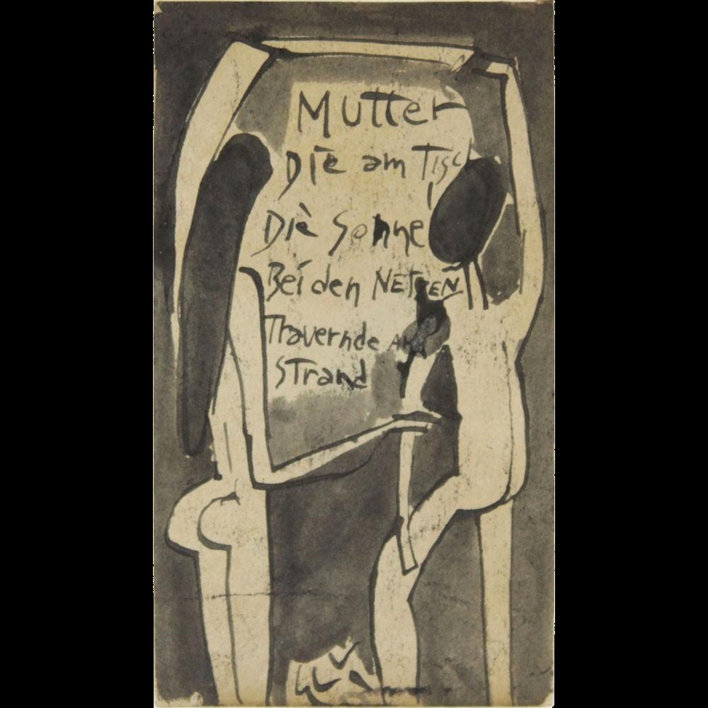 1930S GERMAN SCHOOL, German Expressionism Original Ink and Wash on Paper, Inscribed